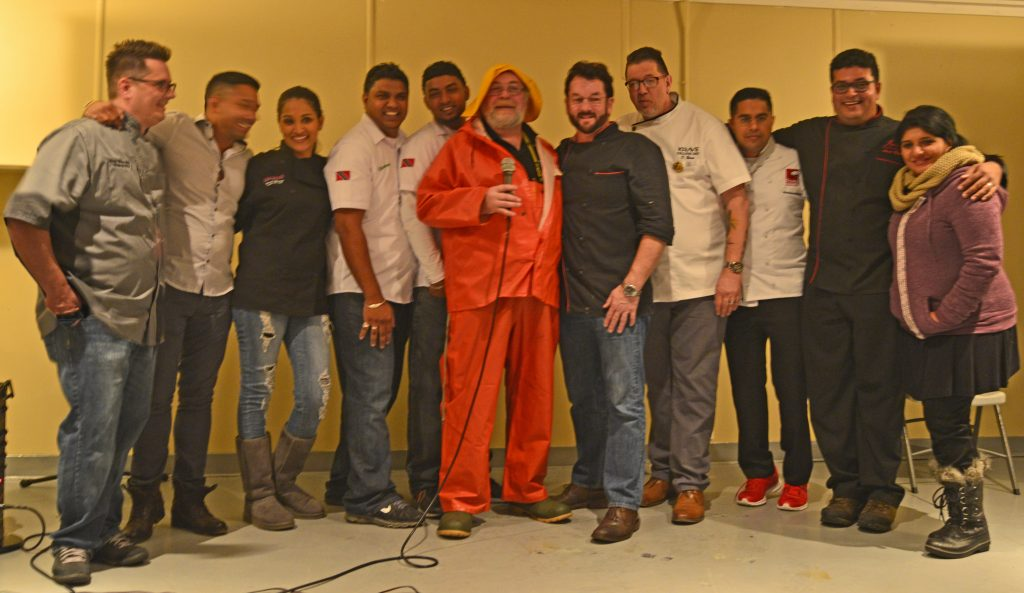 Bill Dawe with Trinidad Chefs following Screech In