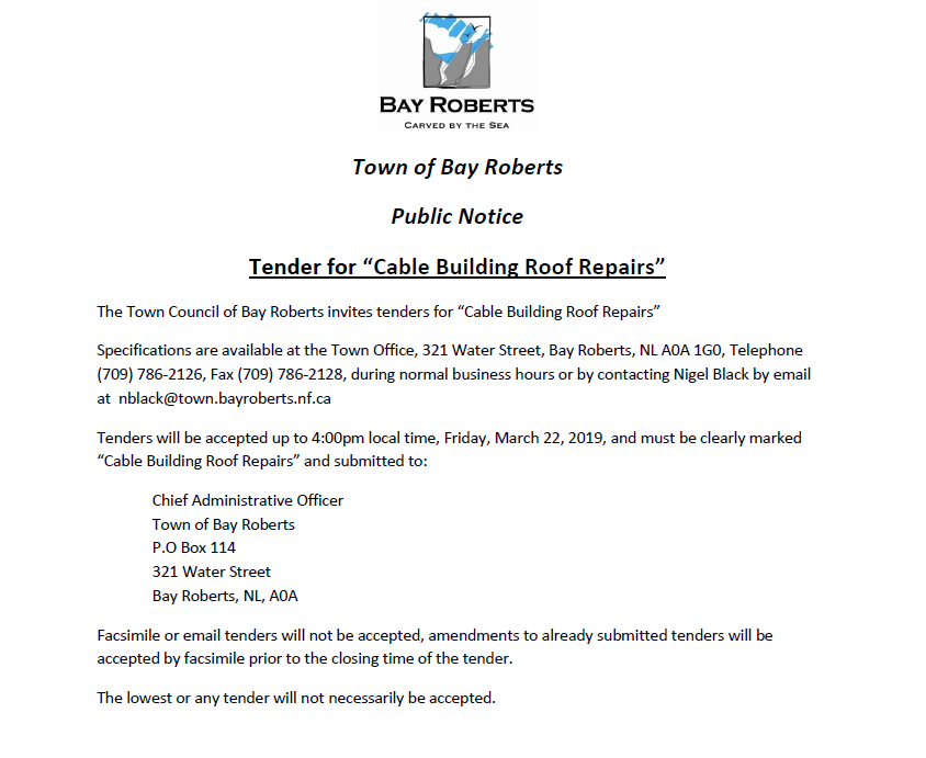 Public Notice – Tenders for Cable Building Roof Repairs – Bay
